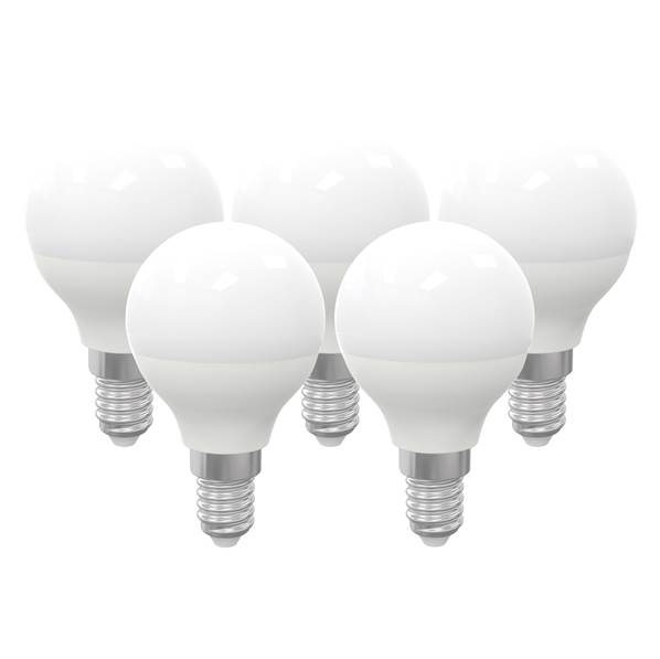 Pack de 5 ampoules LED sphérique dimmable E14 6W 480lm 3000K 160°