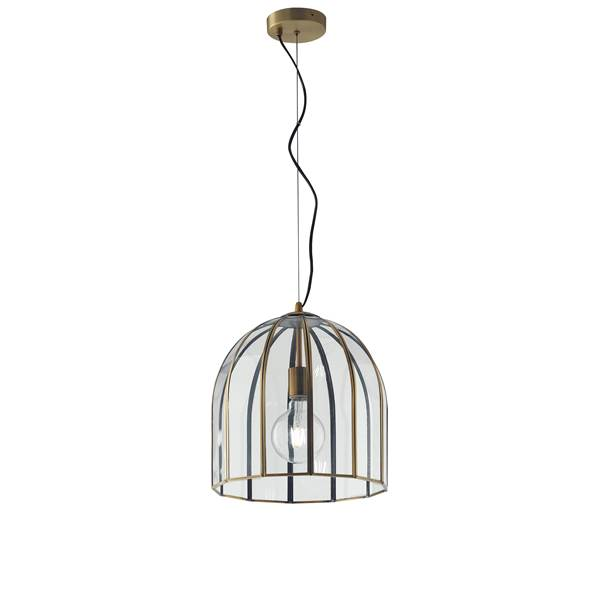 Suspension CHESTER 1xE27 ø30cm Verre Transparent et Laiton