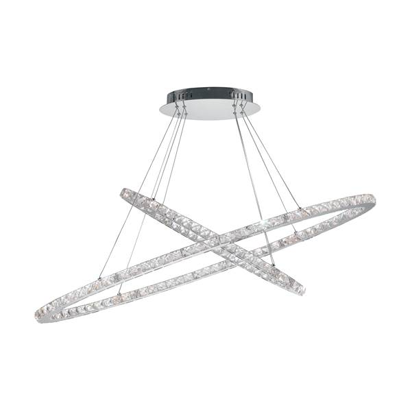 Suspension LED MELODY 54W 4590LM ø120cm 4000K Métal Chromé et Cristaux K9