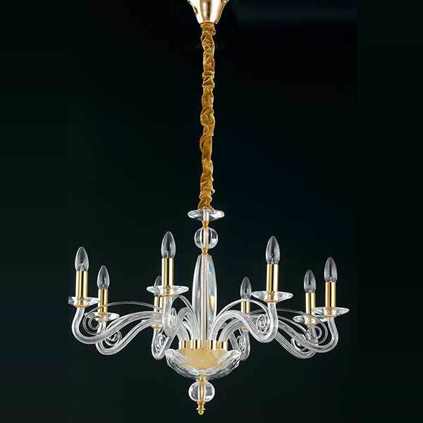 Suspension EPOQUE 8xE14 ø70cm Cristal Finition Dorée