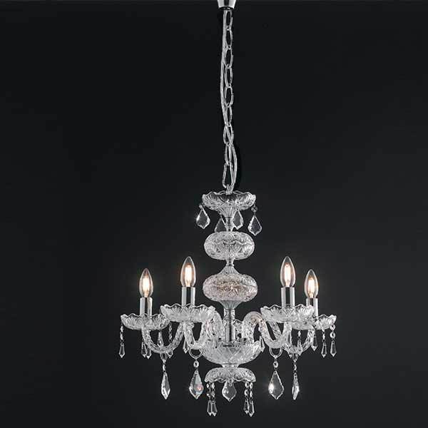 Suspension INCANTO 5xE14 ø74cm Verre et Cristal Chromé