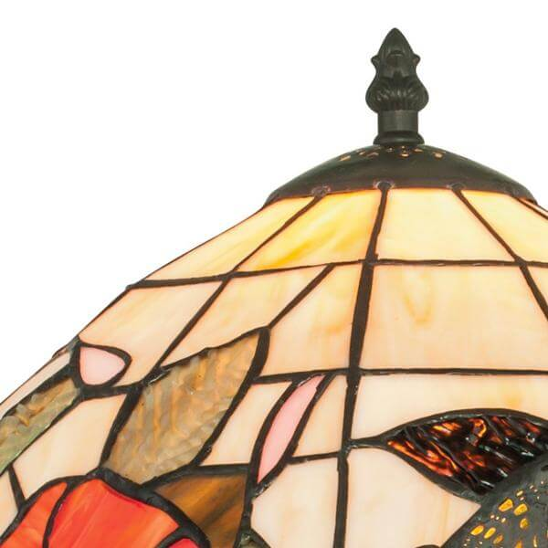 46cm Sur En Coloré Tiffany Avec Motifs Pied Verre Lampe Floral Ninfa n08wOvNm