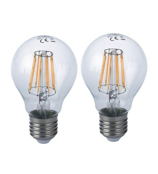 Pack de 2 ampoules LED filament E27 standard dimmable 8W 1055lm 4000K 340°