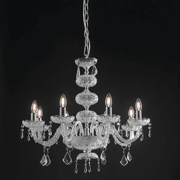 Suspension INCANTO 8xE14 ø85cm Verre et Cristal Chromé
