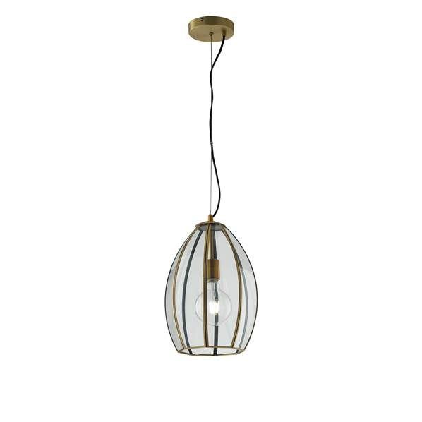 Suspension CHESTER 1xE27 ø23cm Verre Transparent et Laiton