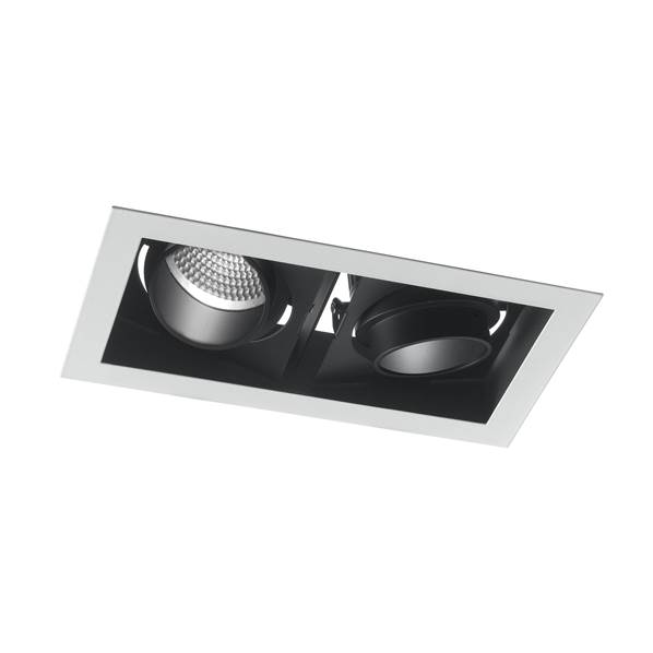 Spot encastré Orientable LED APOLLO 2x10W 4000K 1600lm 40° Blanc