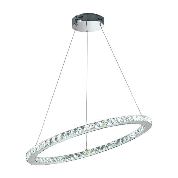 Suspension LED MELODY 36W 3060LM 4000K ø70cm Métal Chromé et Cristaux K9
