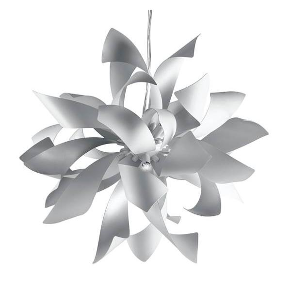 Suspension LED BLOOM 6xG9 ø65cm Aluminium Blanc Argenté