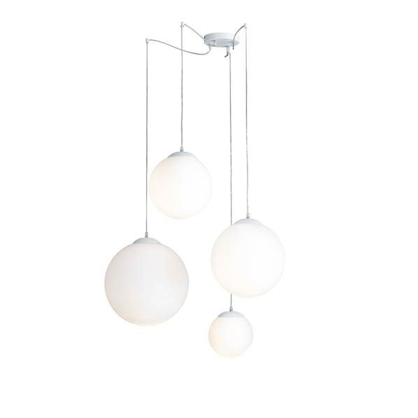 Suspension CITY 4xE27 Verre Blanc