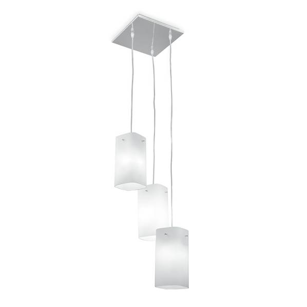 Suspension SQUARE 3xE27 en Verre Blanc