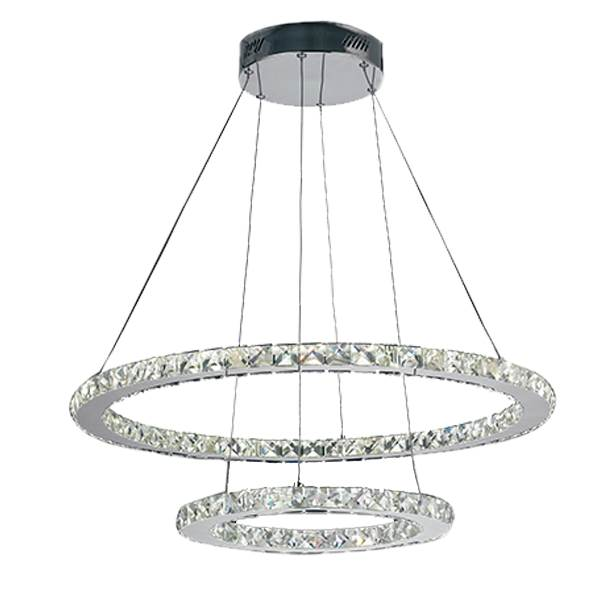 Suspension LED MELODY 44W 3740LM 4000K ø70cm Métal Chromé et Cristaux K9