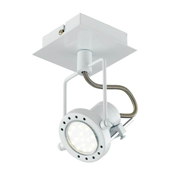 Spot LED TECHNO 1xGU10 6W 4000K 400lm 100° Simple Sortie en Métal Blanc Satiné