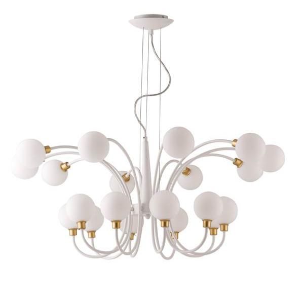 Suspension AIDA 20xG9 ø96cm Métal Blanc et Or Satiné