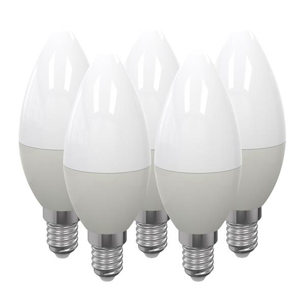 Pack de 5 ampoules LED flamme dimmable E14 6W 480lm 4000K 150°