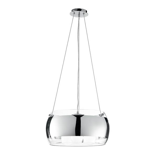 Suspension EQUATORE 3xE27 ø40cm en Verre Chromé