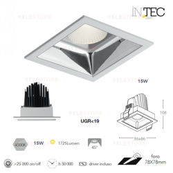 Encastré LED Blanc/Chrome 15W 1725LM 4000K