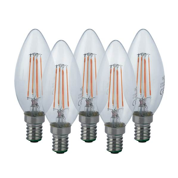 Pack de 5 ampoules LED filament E14 flamme 4W 470lm 3000K 340°