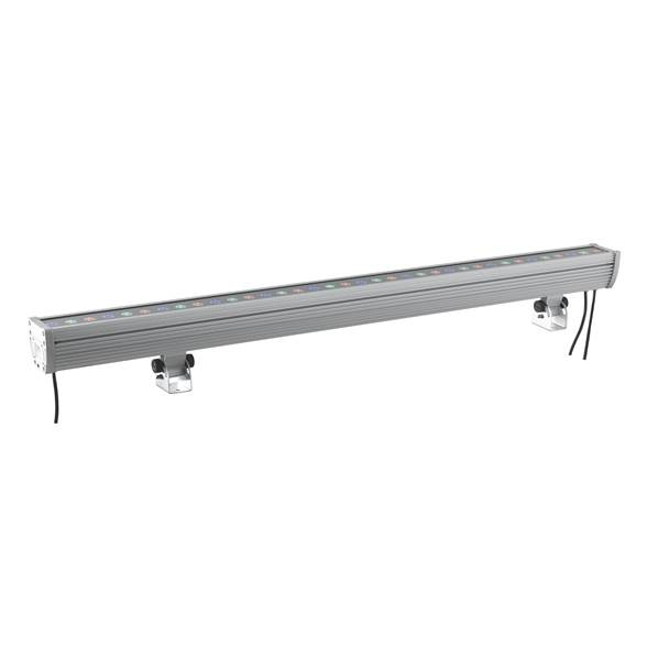 Barre LED WALLWASHER 36x2W 230V RGB 45° IP65 Full Couleur en Aluminium Gris