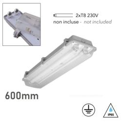 Plafonnier étanche ATLANTIC Double tube LED 2xT8 IP65 Polycarbonate 60cm