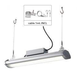 Lampe LED industrielle en aluminium, High-Bay, haute luminosité, supports KIT et câble en acier INCLUS 100w IP65 15000lm